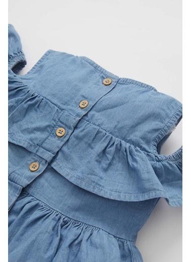 DeFacto Kız Çocuk Kısa Kol Pamuklu İnce Jean Elbise Mavi